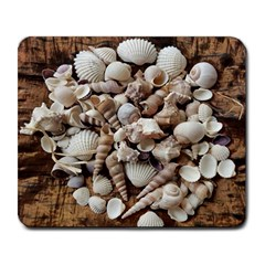 Tropical Sea Shells Collection, Copper Background Large Mousepads