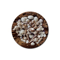 Tropical Sea Shells Collection, Copper Background Rubber Round Coaster (4 pack)