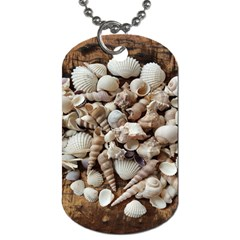 Tropical Sea Shells Collection, Copper Background Dog Tag (Two Sides)