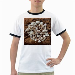Tropical Sea Shells Collection, Copper Background Ringer T Shirts