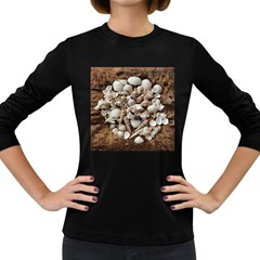 Tropical Sea Shells Collection, Copper Background Women s Long Sleeve Dark T-Shirts