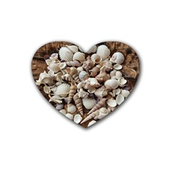 Tropical Sea Shells Collection, Copper Background Rubber Coaster (Heart)