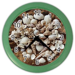 Tropical Sea Shells Collection, Copper Background Color Wall Clocks