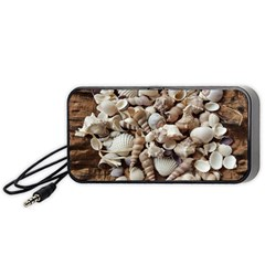 Tropical Sea Shells Collection, Copper Background Portable Speaker (Black)