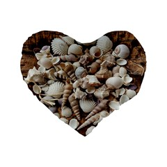 Tropical Sea Shells Collection, Copper Background Standard 16  Premium Heart Shape Cushions