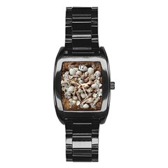 Tropical Sea Shells Collection, Copper Background Stainless Steel Barrel Watch