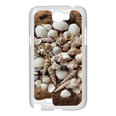 Tropical Sea Shells Collection, Copper Background Samsung Galaxy Note 2 Case (White)