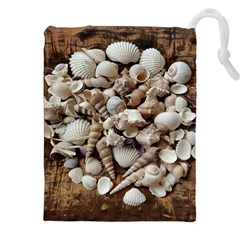 Tropical Sea Shells Collection, Copper Background Drawstring Pouches (xxl)