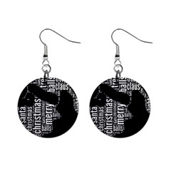Funny Santa Black And White Typography Mini Button Earrings