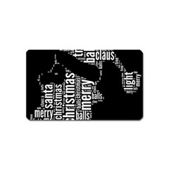 Funny Santa Black And White Typography Magnet (Name Card)
