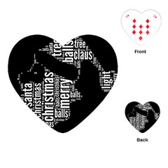 Funny Santa Black And White Typography Playing Cards (Heart)