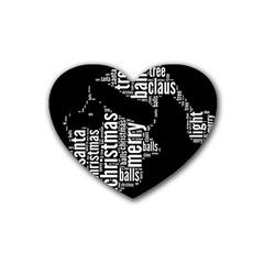 Funny Santa Black And White Typography Heart Coaster (4 pack)