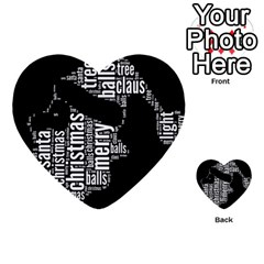 Funny Santa Black And White Typography Multi-purpose Cards (Heart)