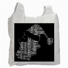 Funny Santa Black And White Typography Recycle Bag (One Side)