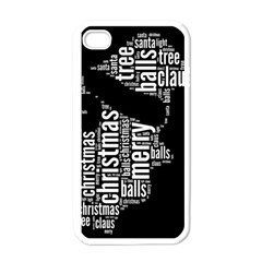 Funny Santa Black And White Typography Apple iPhone 4 Case (White)