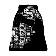 Funny Santa Black And White Typography Bell Ornament (2 Sides)