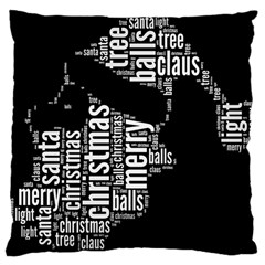 Funny Santa Black And White Typography Large Cushion Case (One Side)