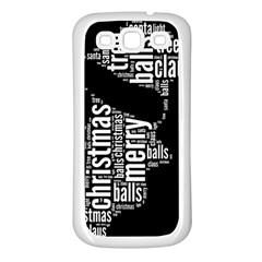 Funny Santa Black And White Typography Samsung Galaxy S3 Back Case (White)