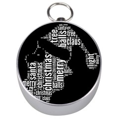Funny Santa Black And White Typography Silver Compasses