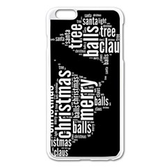 Funny Santa Black And White Typography Apple iPhone 6 Plus/6S Plus Enamel White Case