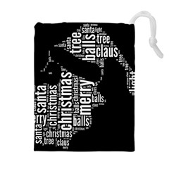Funny Santa Black And White Typography Drawstring Pouches (Extra Large)