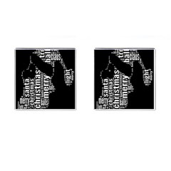 Funny Merry Christmas Santa, Typography, Black and White Cufflinks (Square)