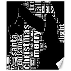 Funny Merry Christmas Santa, Typography, Black and White Canvas 20  x 24