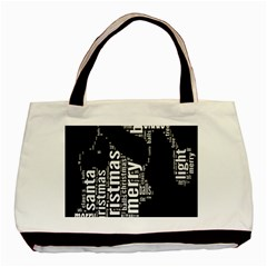 Funny Merry Christmas Santa, Typography, Black and White Basic Tote Bag (Two Sides)