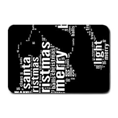 Funny Merry Christmas Santa, Typography, Black and White Plate Mats
