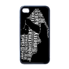 Funny Merry Christmas Santa, Typography, Black and White Apple iPhone 4 Case (Black)