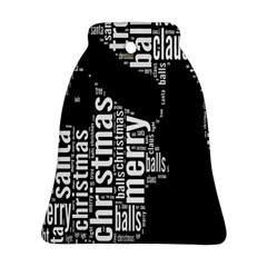 Funny Merry Christmas Santa, Typography, Black and White Ornament (Bell)