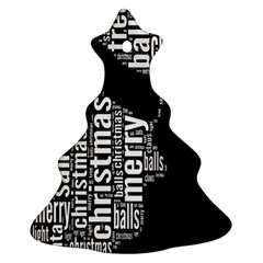 Funny Merry Christmas Santa, Typography, Black and White Christmas Tree Ornament (2 Sides)