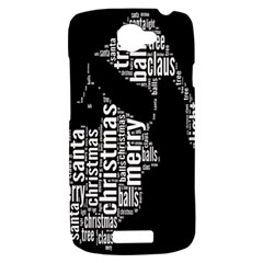 Funny Merry Christmas Santa, Typography, Black and White HTC One S Hardshell Case