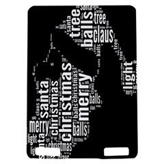 Funny Merry Christmas Santa, Typography, Black and White Kindle Touch 3G