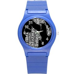 Funny Merry Christmas Santa, Typography, Black and White Round Plastic Sport Watch (S)
