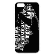 Funny Merry Christmas Santa, Typography, Black and White Apple Seamless iPhone 5 Case (Clear)