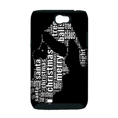 Funny Merry Christmas Santa, Typography, Black and White Samsung Galaxy Note 2 Hardshell Case (PC+Silicone)