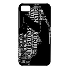 Funny Merry Christmas Santa, Typography, Black and White BlackBerry Z10