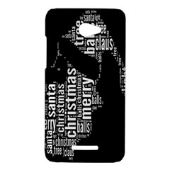 Funny Merry Christmas Santa, Typography, Black and White HTC Butterfly X920E Hardshell Case