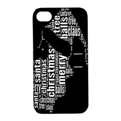 Funny Merry Christmas Santa, Typography, Black and White Apple iPhone 4/4S Hardshell Case with Stand