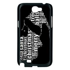 Funny Merry Christmas Santa, Typography, Black and White Samsung Galaxy Note 2 Case (Black)