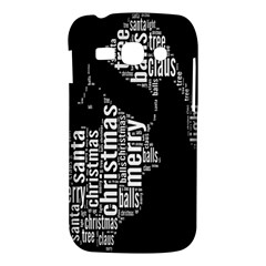 Funny Merry Christmas Santa, Typography, Black and White Samsung Galaxy Ace 3 S7272 Hardshell Case