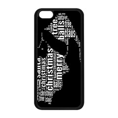 Funny Merry Christmas Santa, Typography, Black and White Apple iPhone 5C Seamless Case (Black)