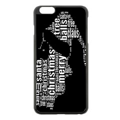 Funny Merry Christmas Santa, Typography, Black and White Apple iPhone 6 Plus/6S Plus Black Enamel Case
