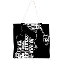 Funny Merry Christmas Santa, Typography, Black and White Grocery Light Tote Bag