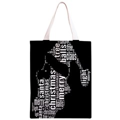 Funny Merry Christmas Santa, Typography, Black and White Classic Light Tote Bag