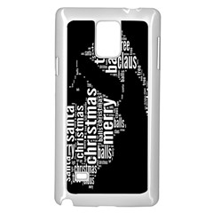 Funny Merry Christmas Santa, Typography, Black and White Samsung Galaxy Note 4 Case (White)