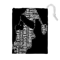 Funny Merry Christmas Santa, Typography, Black And White Drawstring Pouches (extra Large)