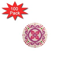 Hindu Flower Ornament Background 1  Mini Magnets (100 Pack)