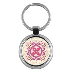 Hindu Flower Ornament Background Key Chains (Round)